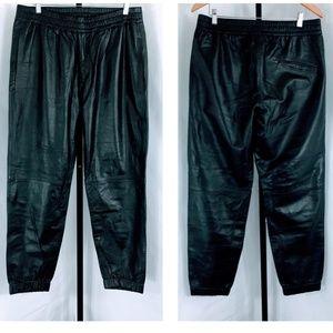 NWOT - Laneus Italy Men's Leather Joggers
